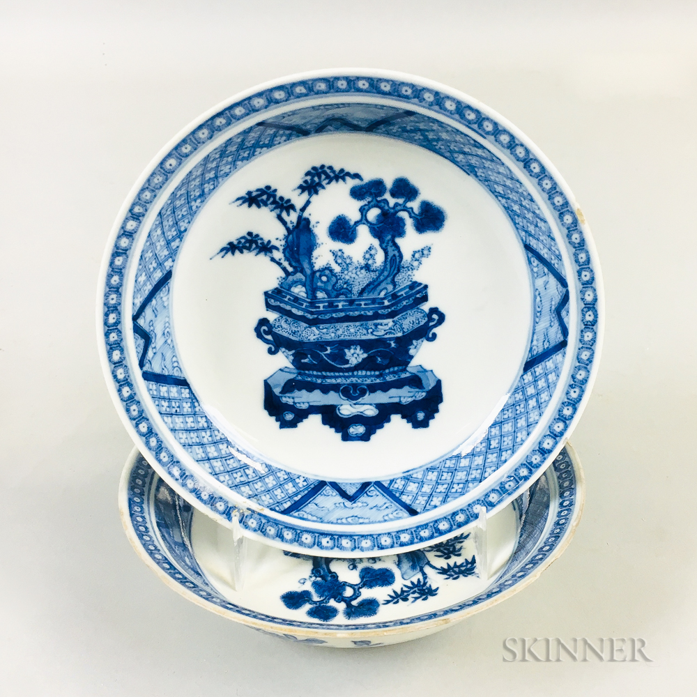 Pair of Blue and White Porcelain Saucers
