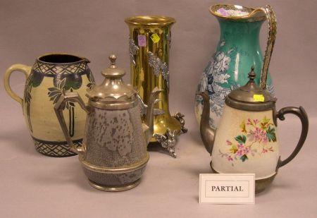 Victorian Gilt-metal Hall Lantern and Five Table Items