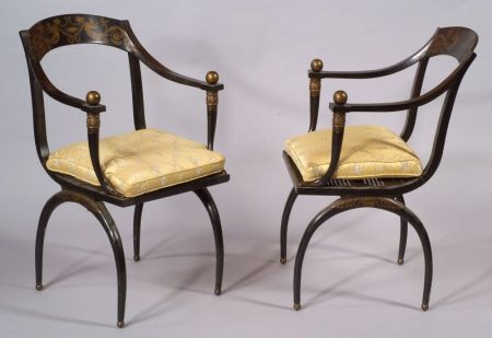 Pair of  Empire-style Ebonized and Caned Armchairs