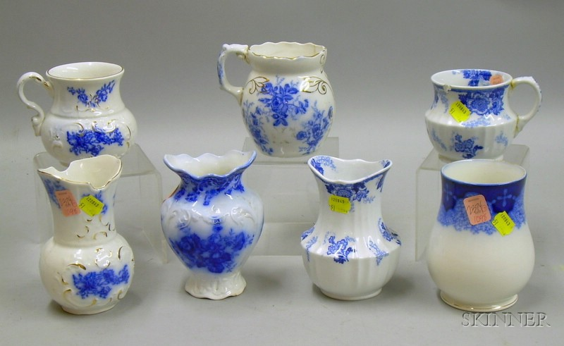 Three Staffordshire Blue and White Transfer Shaving Mugs and Four Chamber Vases.
