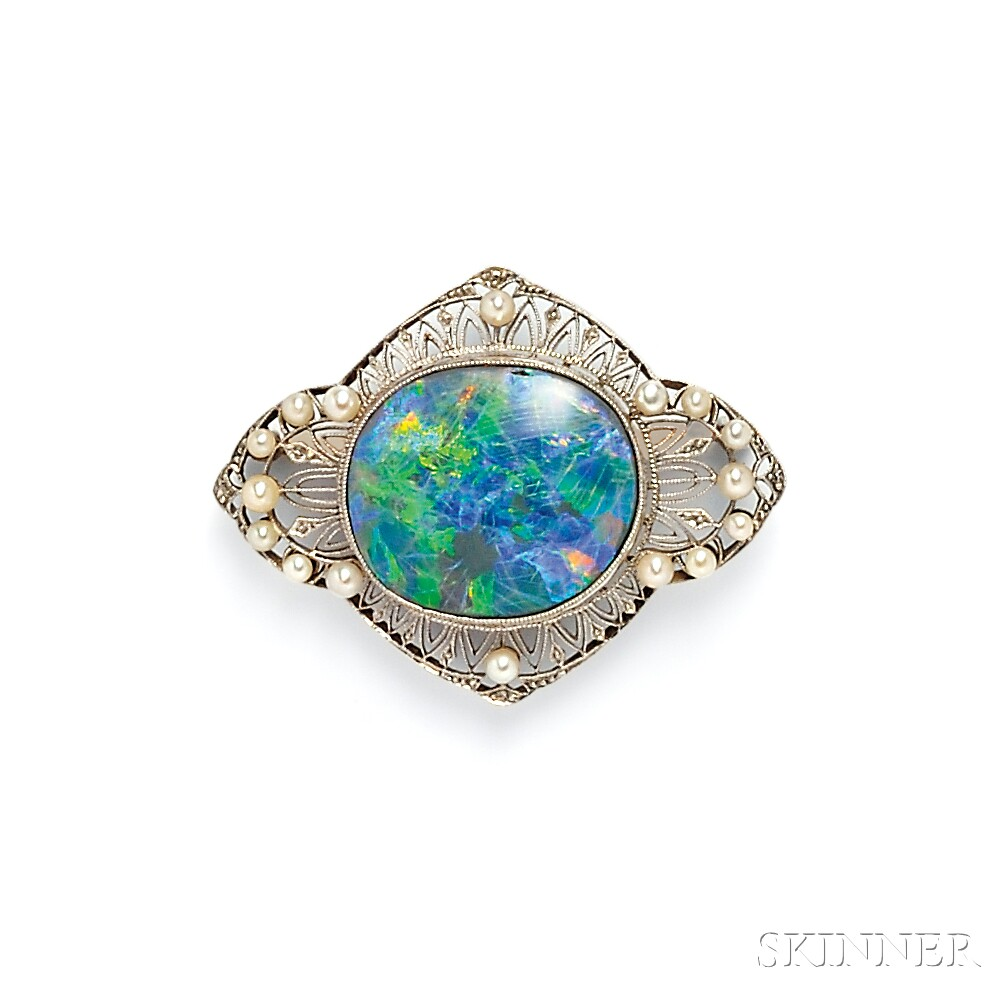 Edwardian Platinum and Opal Brooch