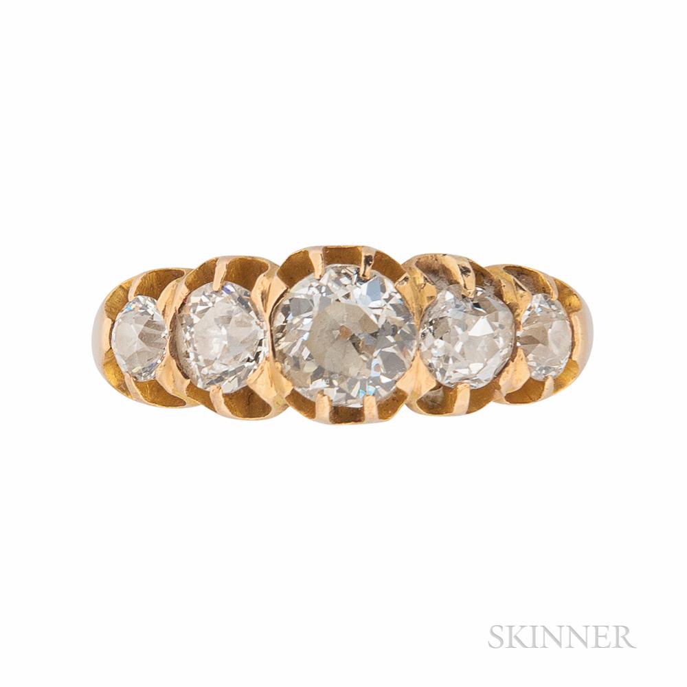 18kt Gold and Diamond Half-hoop Ring