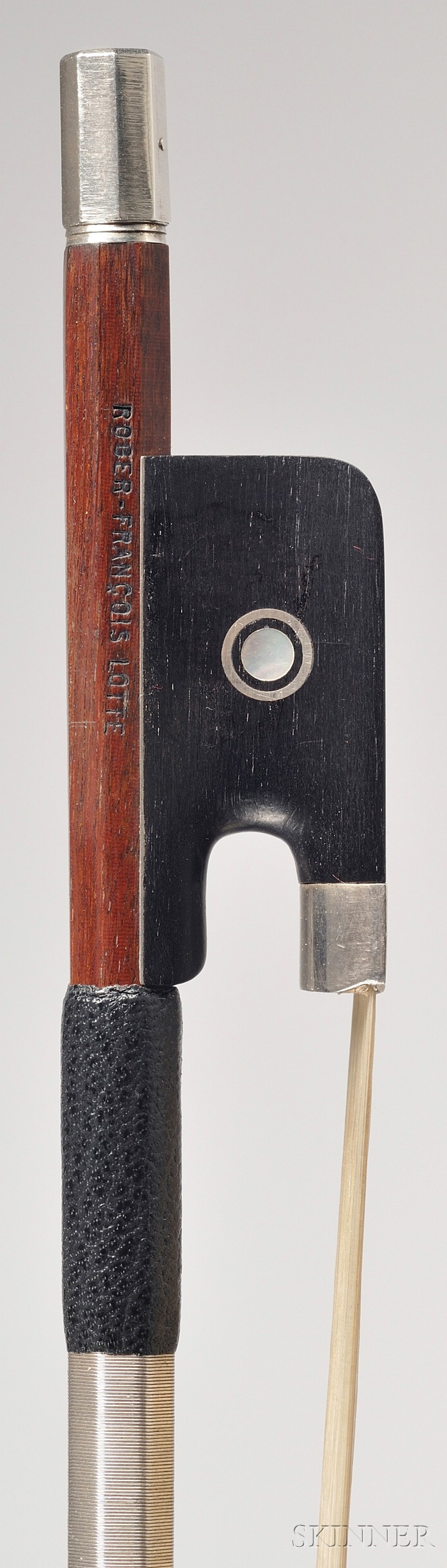 French Silver Mounted Viola Bow, Roger Francois Lotte, c. 1960