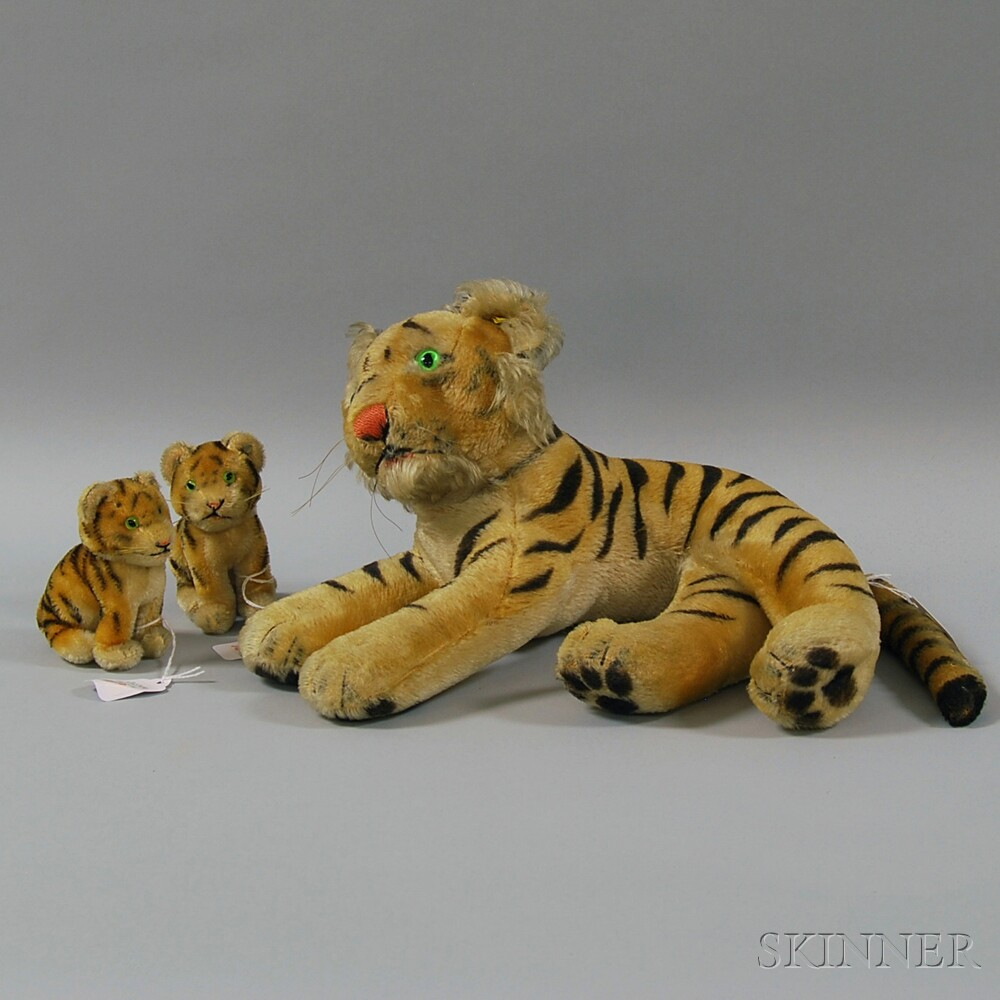 Three Steiff Mohair Tigers