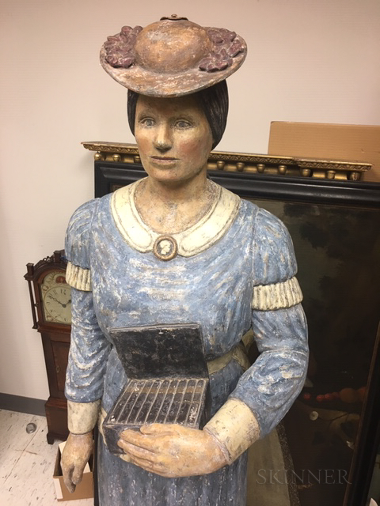 Carved and Painted Suffragette Tobacconist Figure