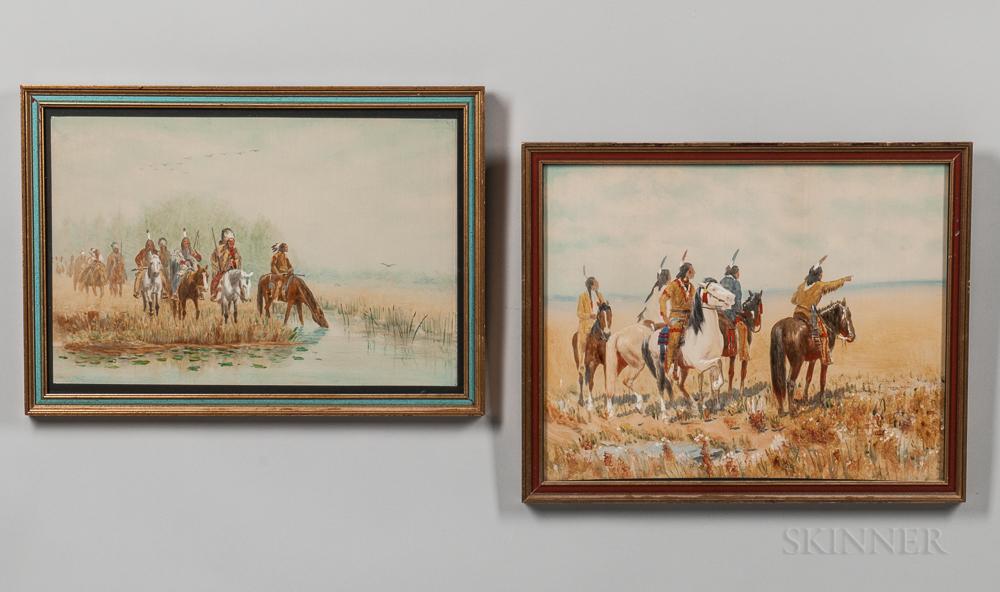 Pair of Charles Craig Paintings Depicting Native Americans
