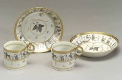 Set of Six Paris Porcelain Egyptian Revival Demitasse Cups and Saucers