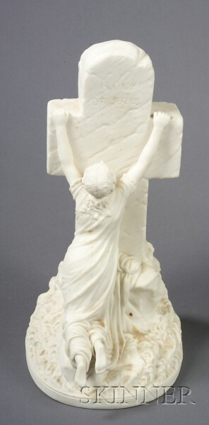 Staffordshire Parian Figure with Monument