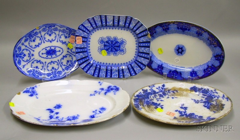 Five Blue and White Transfer Decorated Staffordshire Platters