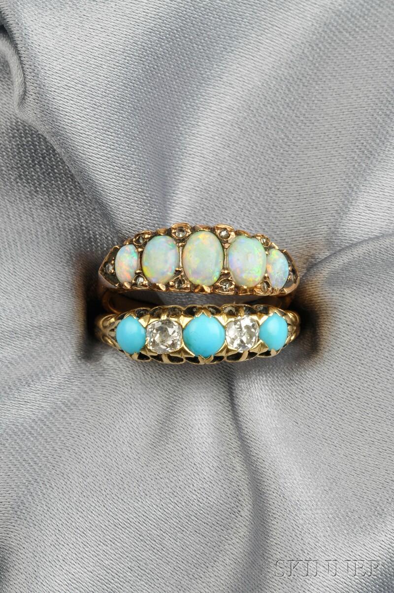 Two Antique 18kt Gold Gem-set Rings