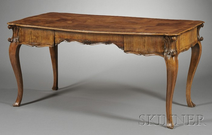 Italian Rococo Style Inlaid Walnut Writing Table