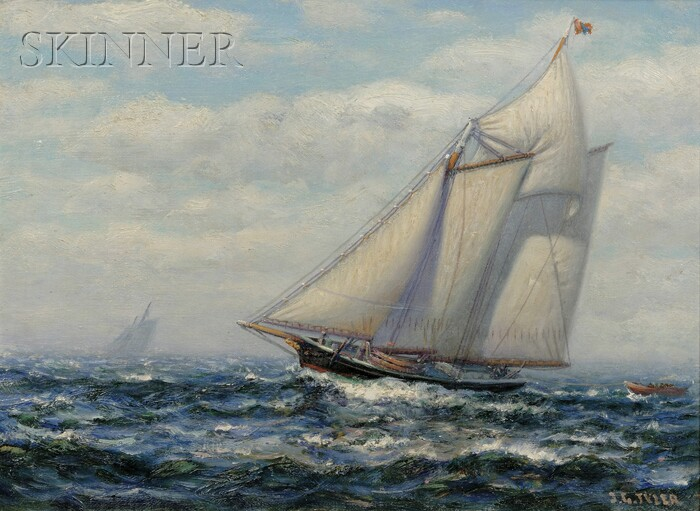 James Gale Tyler (American, 1855-1931)      Schooner Out at Sea