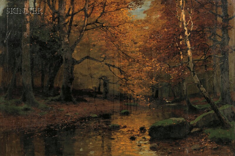 Konrad Alexander Müller-Kurzwelly (German, 1855-1914)      Autumn Landscape with Brook and Moss-covered Rocks
