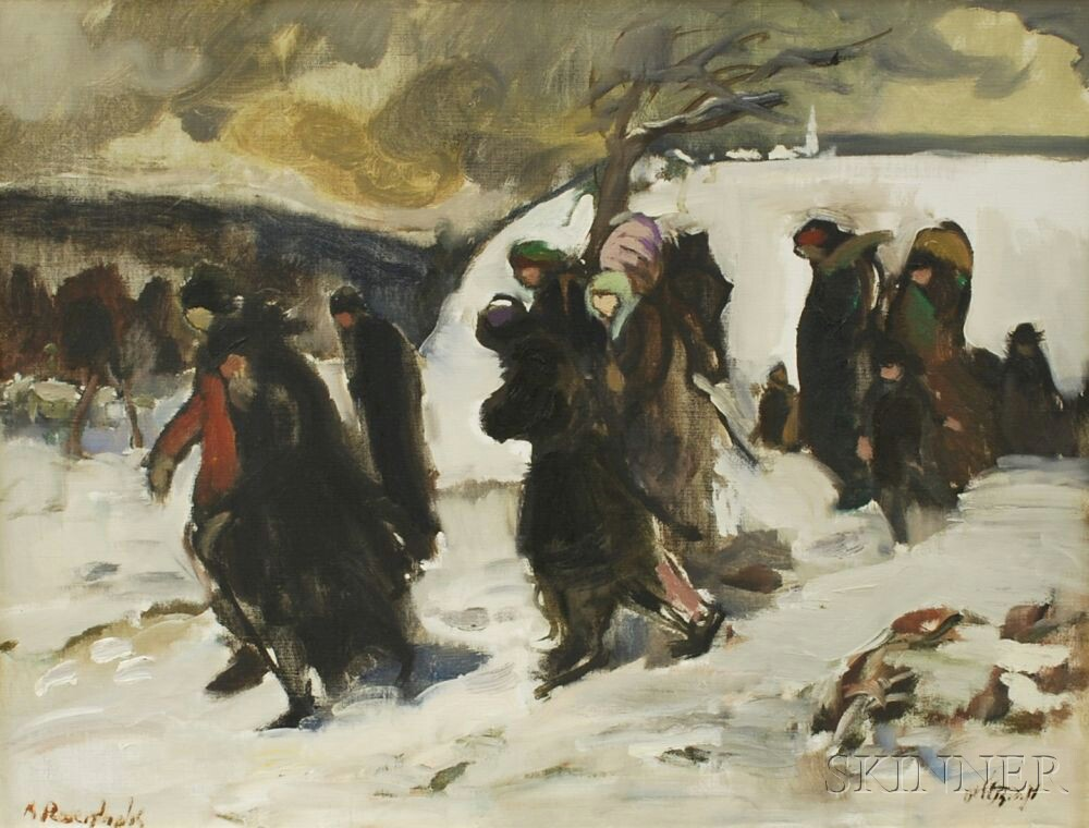 Moshe Rosenthalis (Lithuanian/Israeli, 1922-2008)      Refugees in Winter.