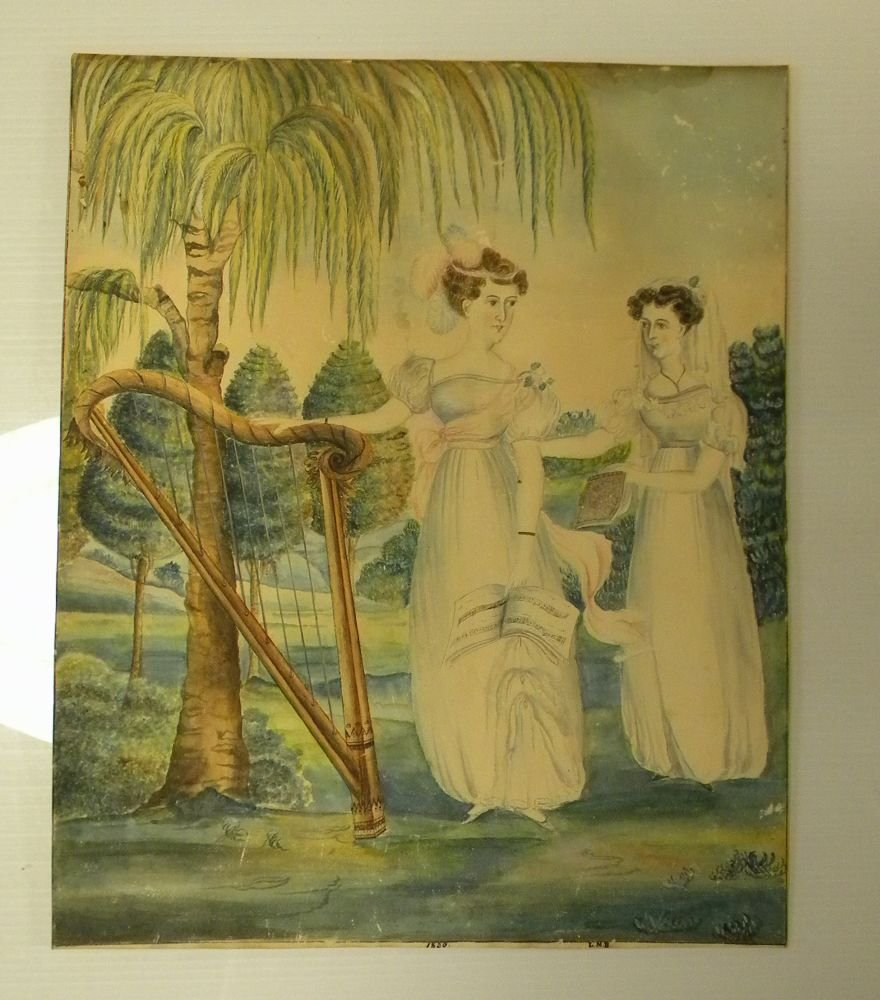 American School, Early 19th Century      Two Women with a Harp.