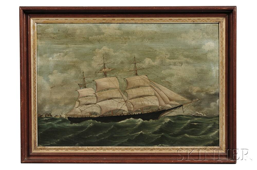 American School, Late 19th Century      Portrait of the Three-masted Vessel St. Nicholas