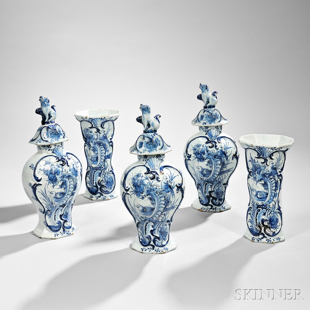Dutch Delftware Blue and White Five-piece Garniture
