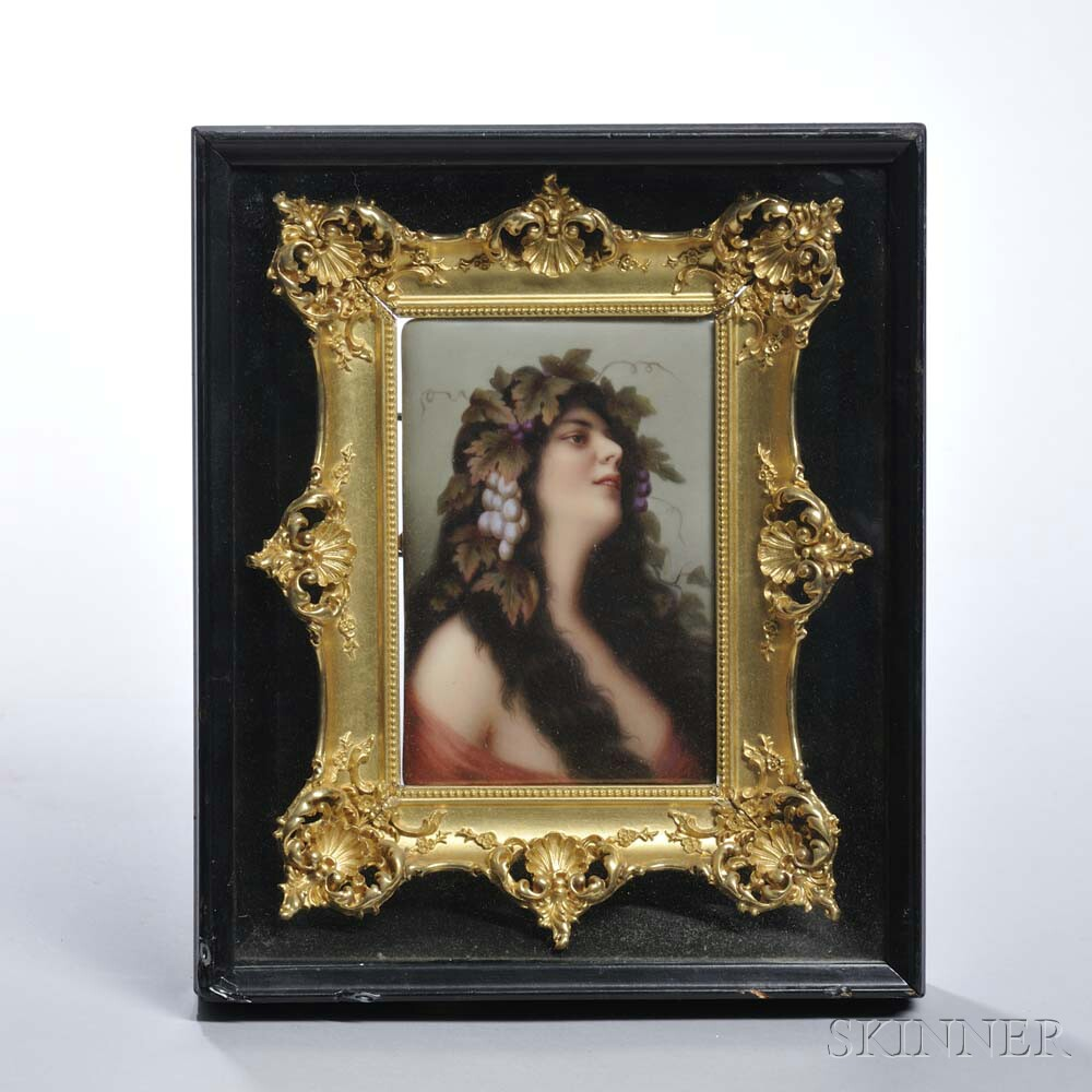 Framed Berlin-style Polychrome Porcelain Plaque of a Bacchante