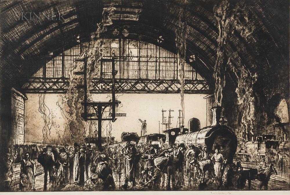 Sir Frank Brangwyn (British, 1867-1956)      Cannon Street Station, Interior