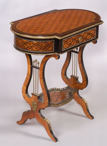 Louis XV/XVI Style Tulipwood and Ebony Parquetry Inlaid Ormolu-mounted Work Table