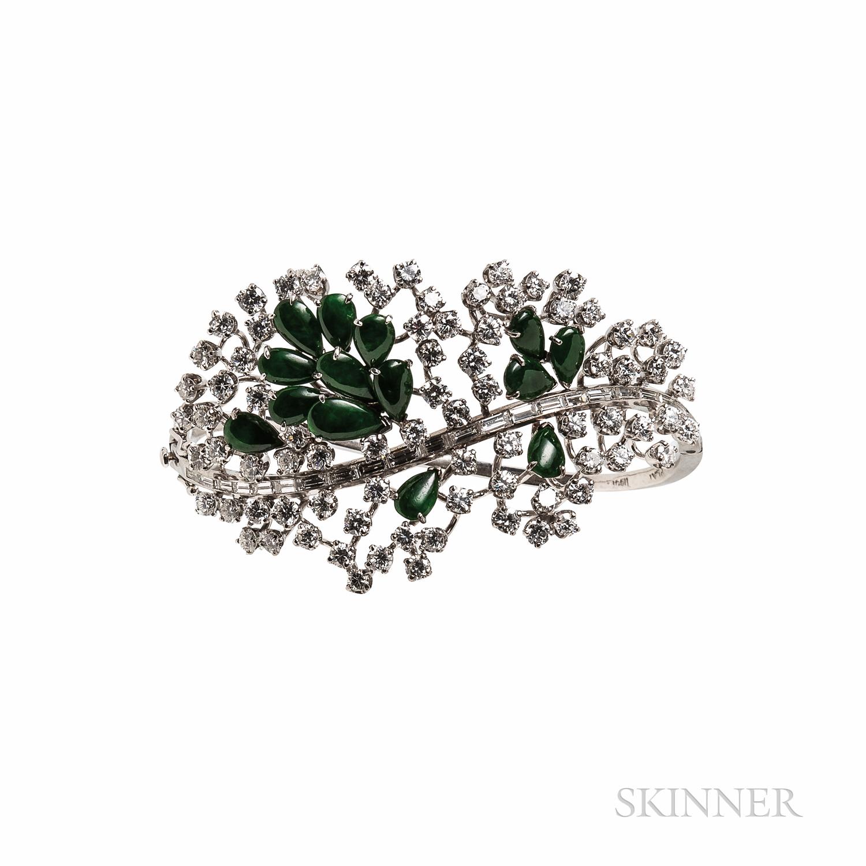 Platinum, Jade, and Diamond Bracelet