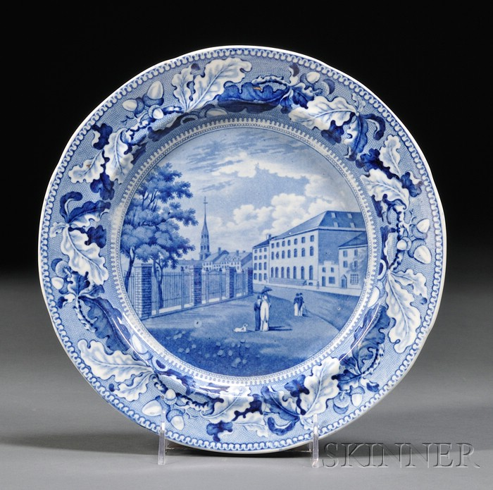 Historical Blue and White Transfer-decorated Staffordshire Pottery Dinner Plate