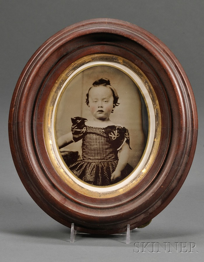 Large Framed Oval Tintype Portrait of a Boy