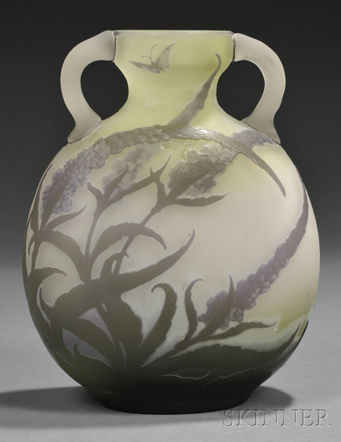Galle  Cameo Glass Vase with Butterfly