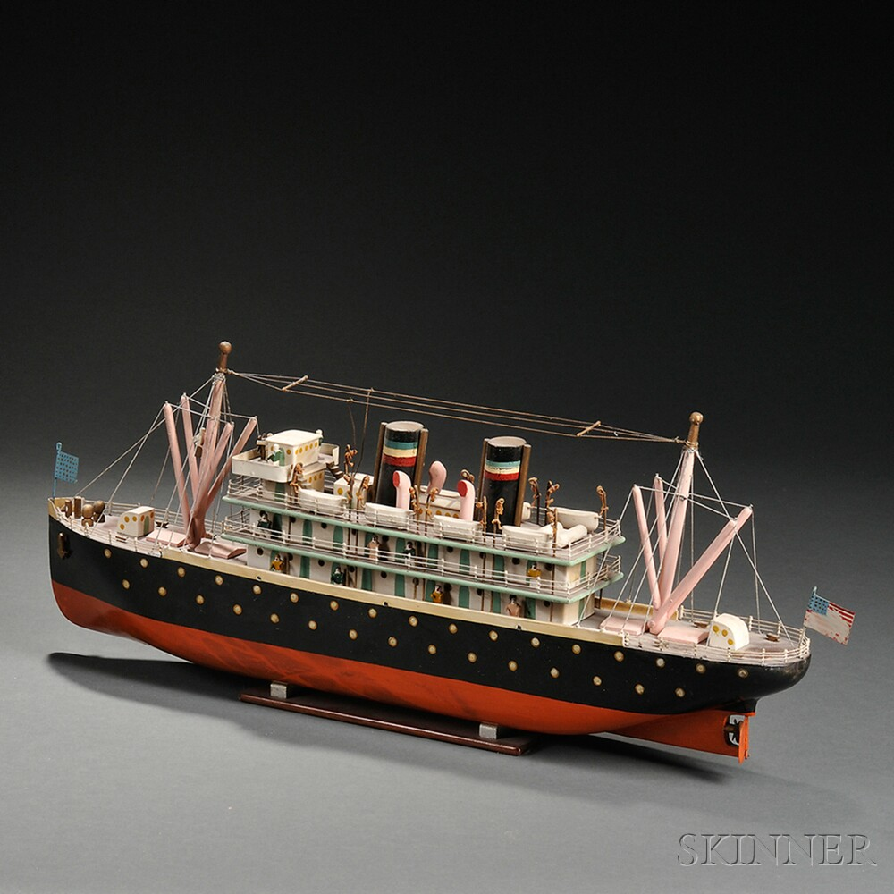 Polychrome Painted Wood Model of an Ocean Liner