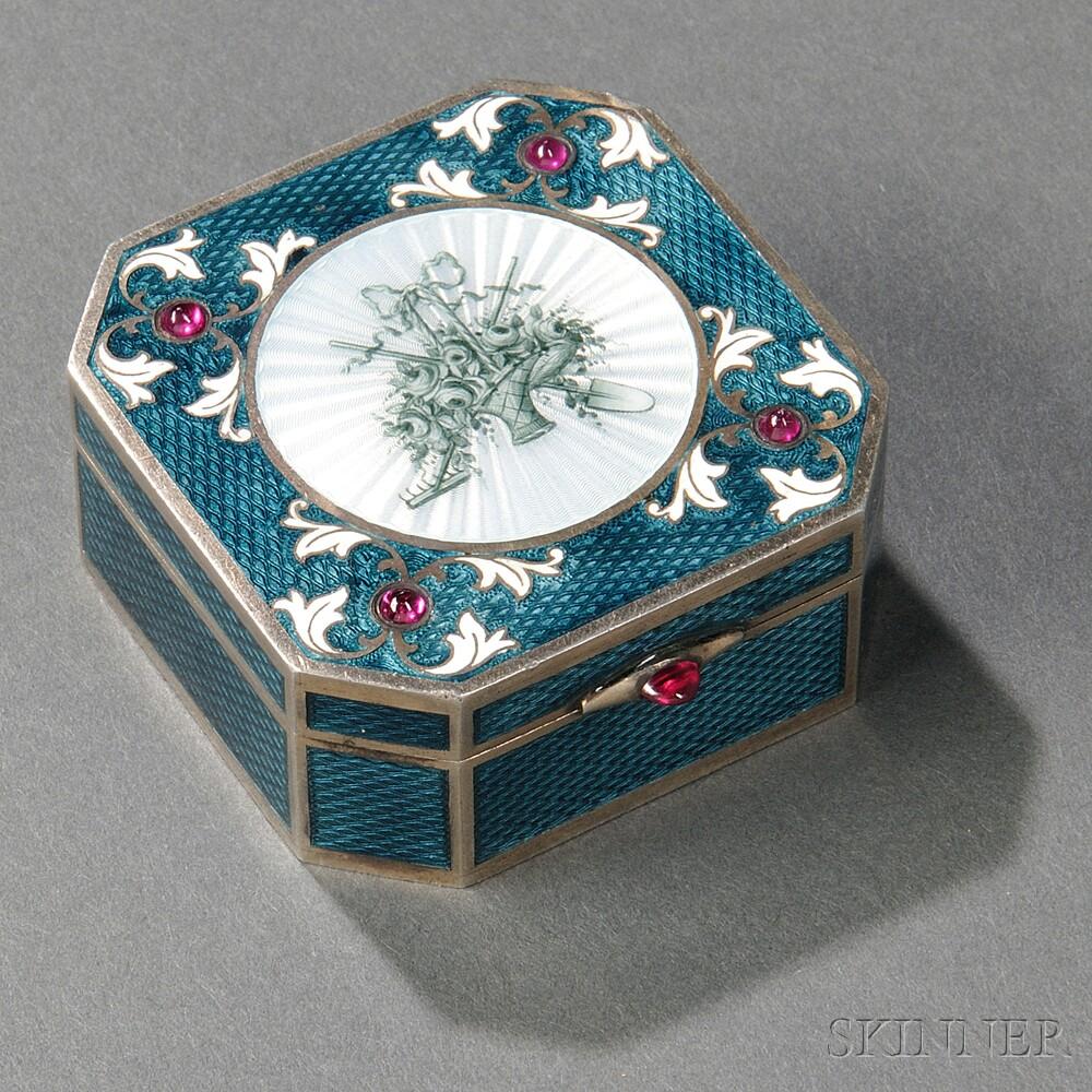 Austrian .950 Silver and Guilloche Enamel Box