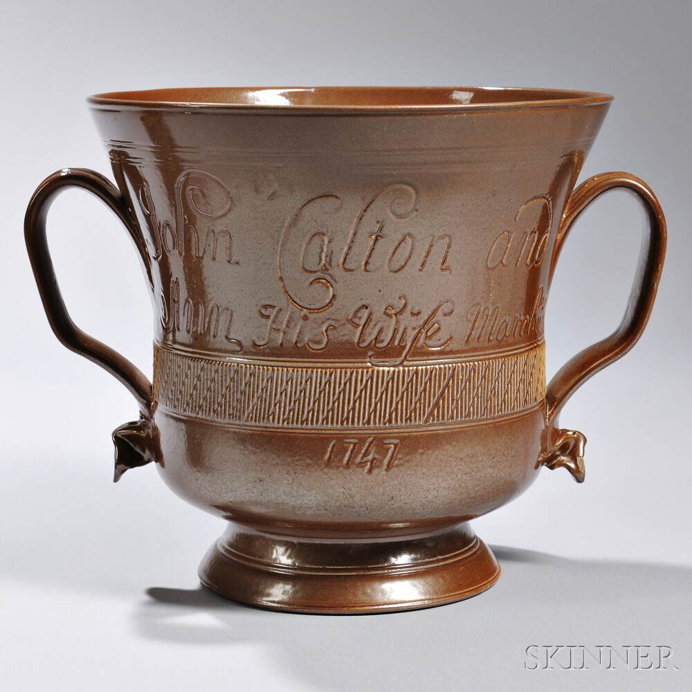 Brown Salt-glazed Stoneware Two-handled Marriage Cup