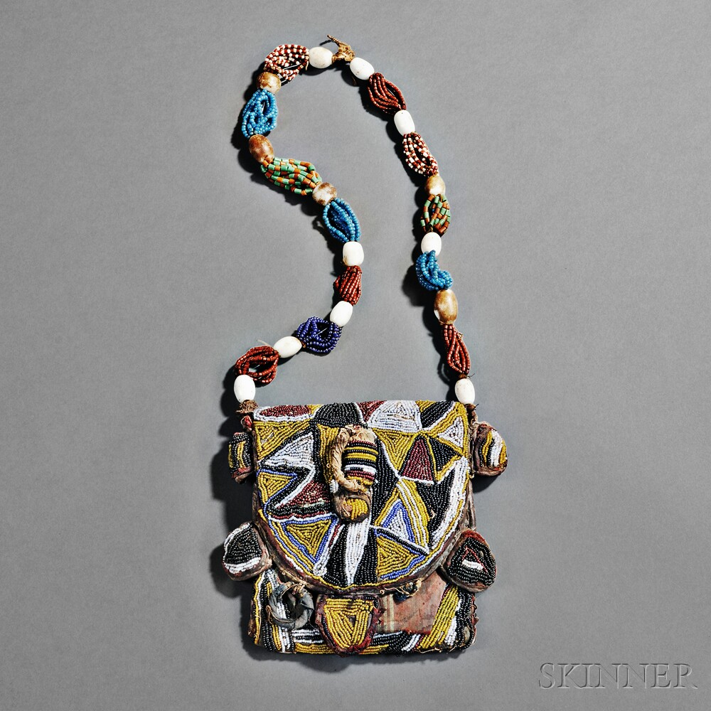 Yoruba Beaded Cloth and Leather Diviner's Bandolier Bag