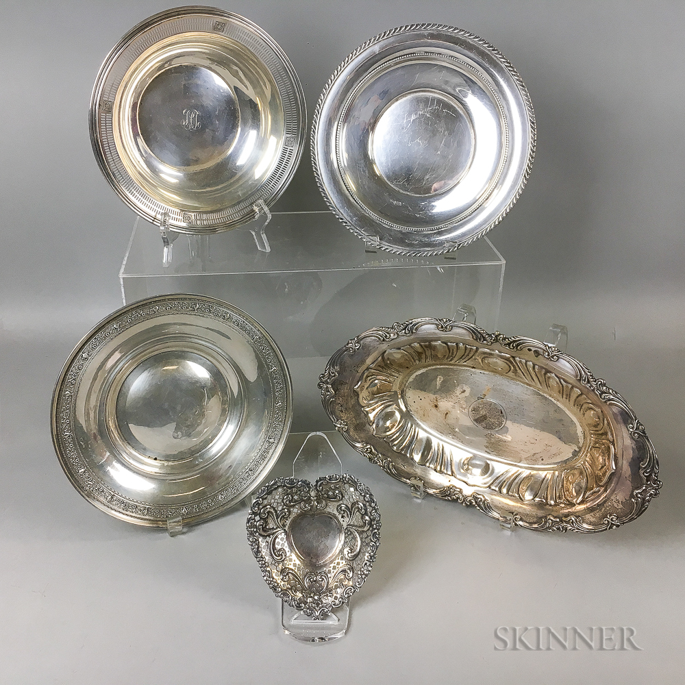 Five Sterling Silver Tableware