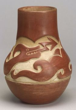 Southwest Carved and Painted Pottery Vase