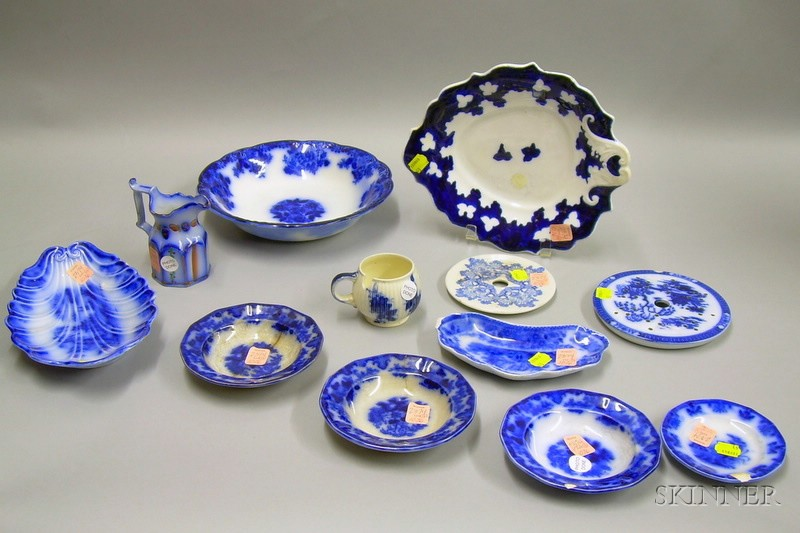 Ten Pieces of Staffordshire Blue and White Transfer Tableware