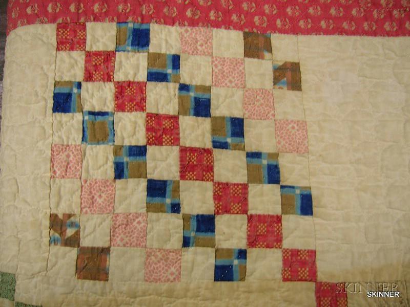 Hand-stitched Pieced Cotton Quilt.      Estimate $150-250
