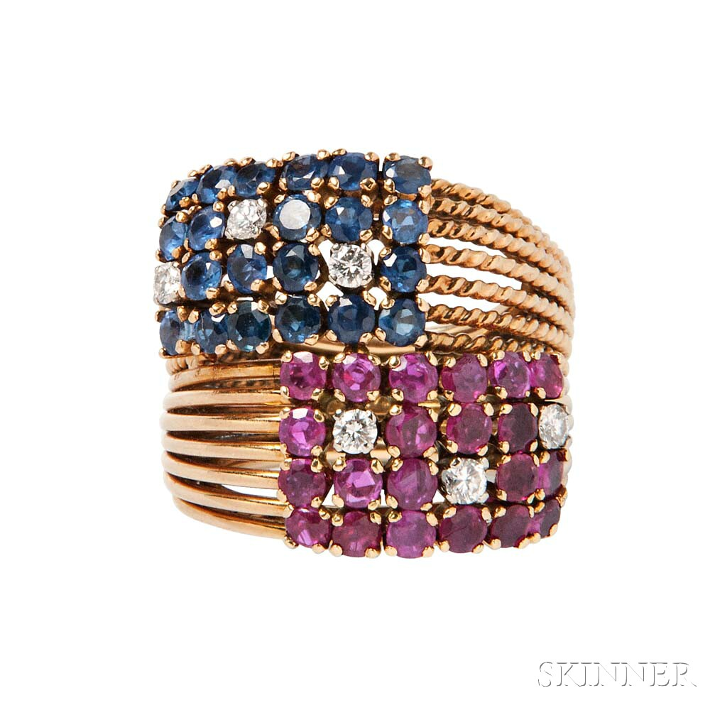 18kt Gold, Ruby, Sapphire, and Diamond Ring