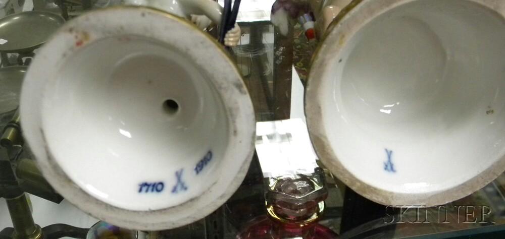 Pair of Hand-painted Meissen Porcelain Cherub Figures