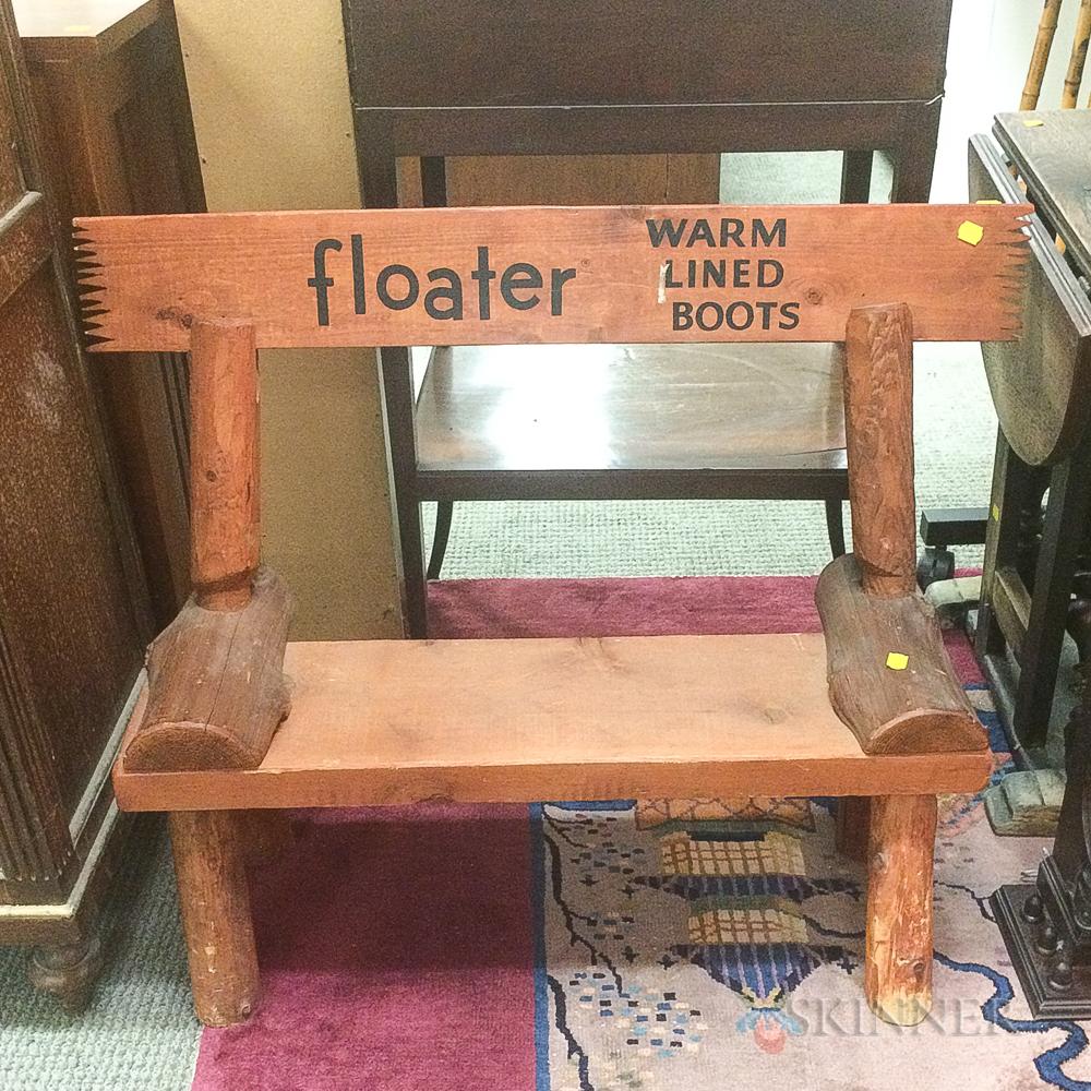 """Floater"" Adirondack-style Wood Child's Advertising Bench"