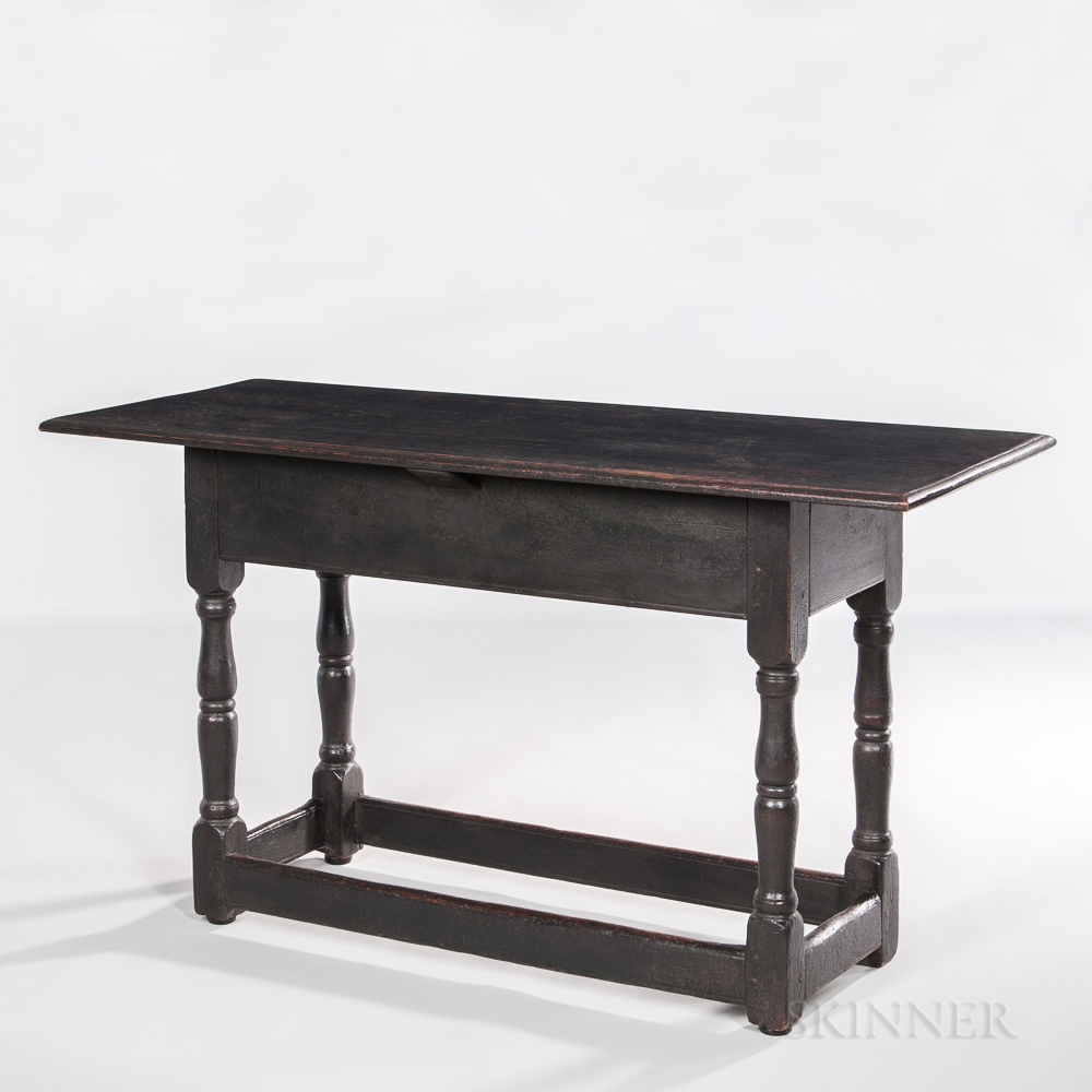 Black-painted and Turned Hall Table