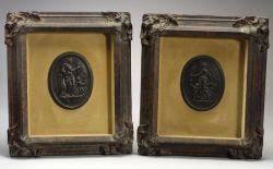 Pair of Wedgwood Black Basalt Self-framed Oval Plaques