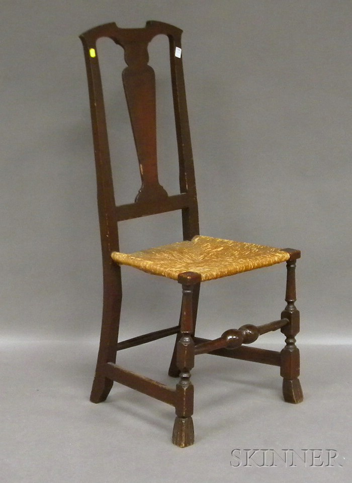Queen Anne Stained Maple Side Chair with Spanish Feet