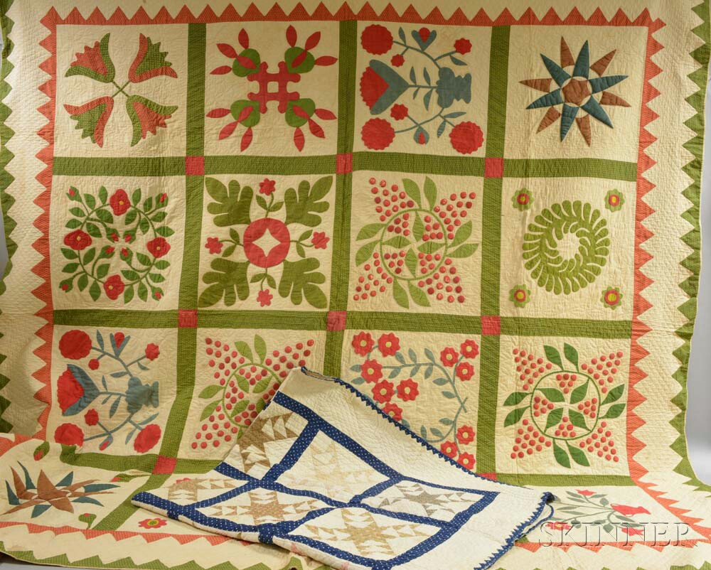 Two Appliqued Cotton Quilts