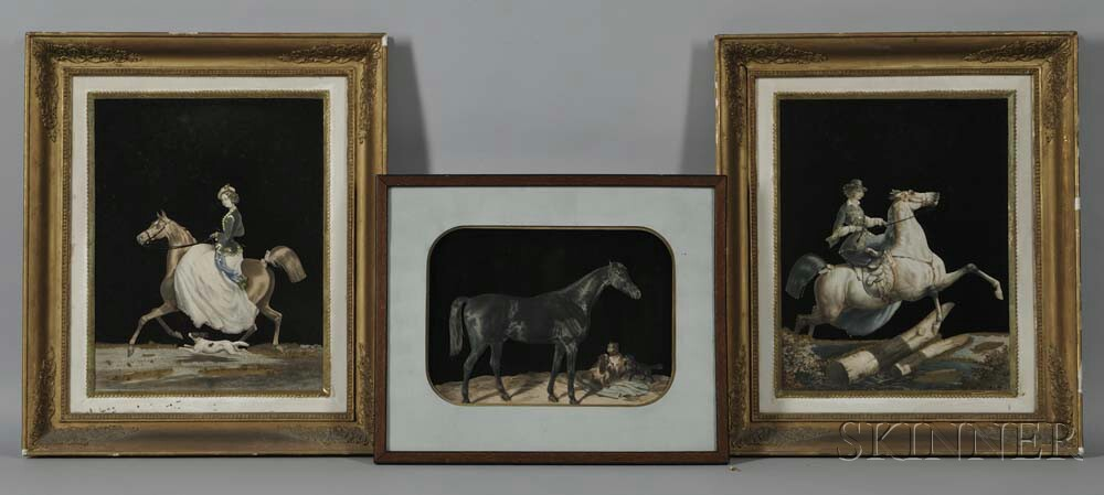 Three Framed Painted Silk Collages