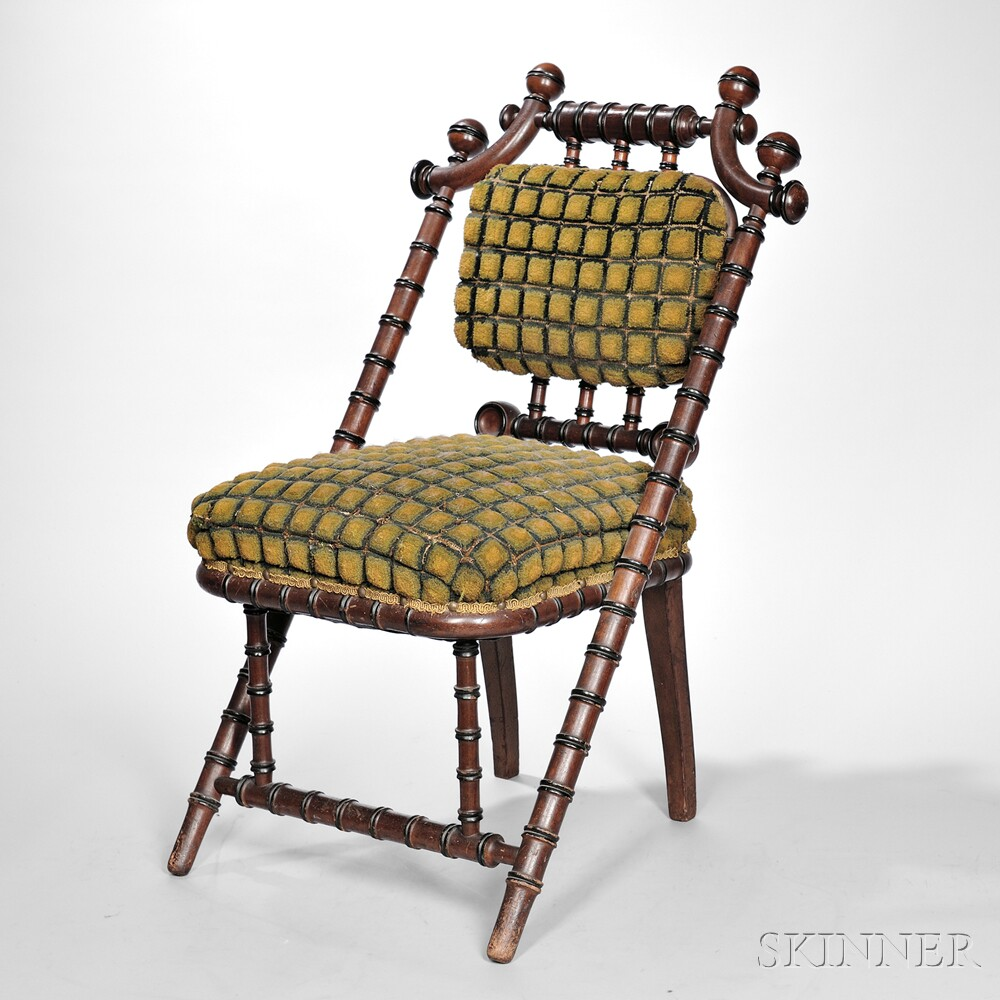 Turned and Upholstered Walnut Chair
