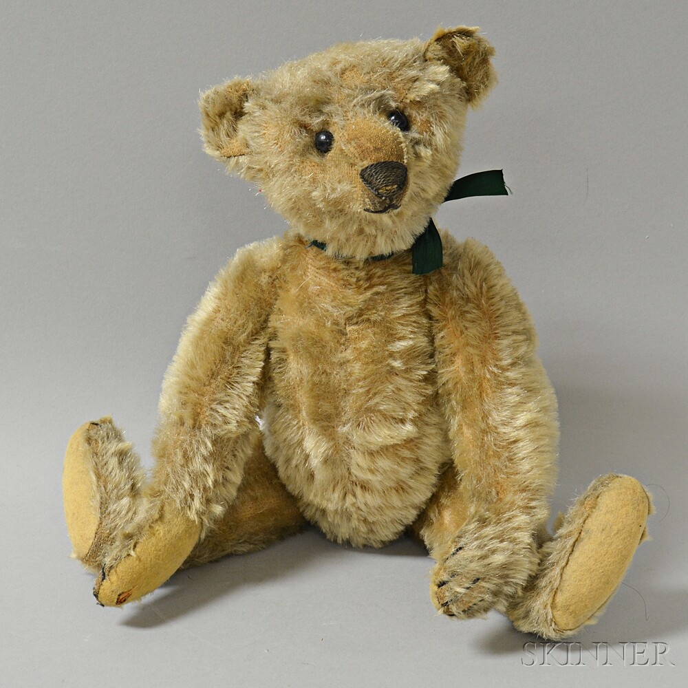 Early Articulated Blonde Mohair Teddy Bear