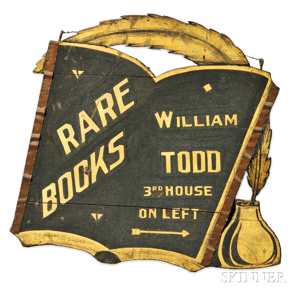 """Carved, Black-painted, and Gilt """"RARE BOOKS WILLIAM TODD"""" Trade Sign"""