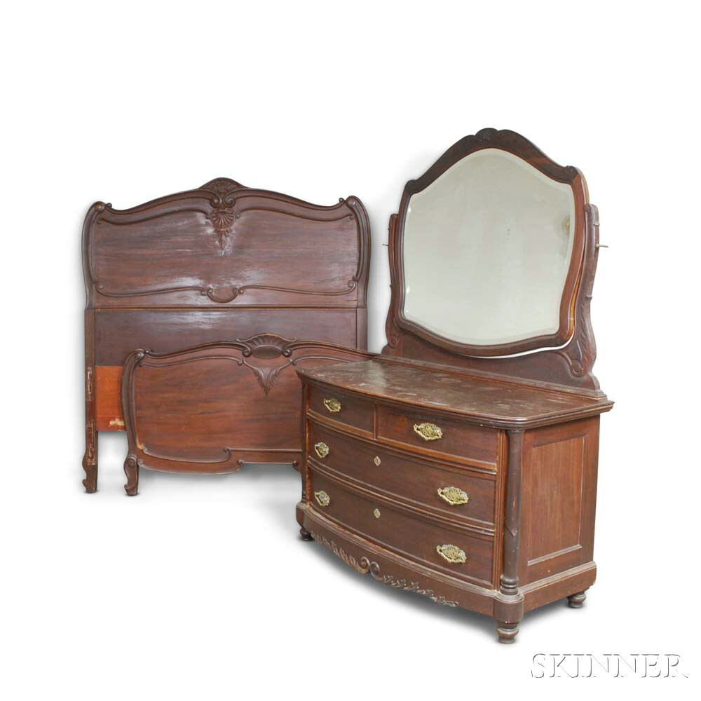 Rococo Revival Carved Walnut Mirrored Dressing Table and Bed.     Estimate $200-300