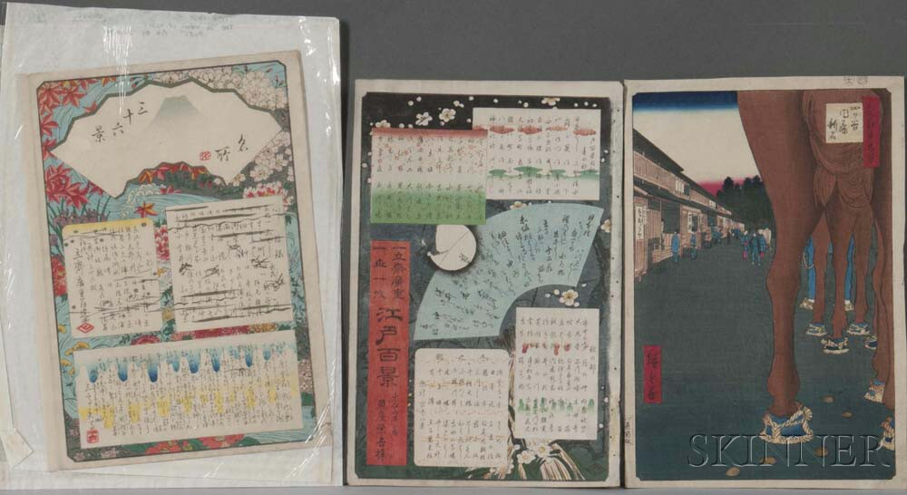 Utagawa Hiroshige (1797-1858), Three Woodblock Prints