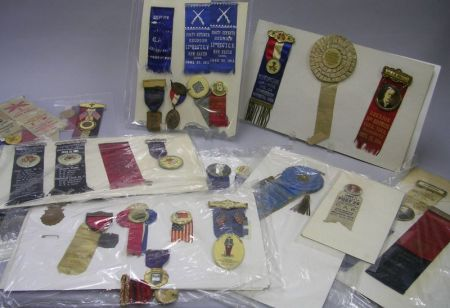 Group of GAR, Odd Fellows, and Associated Fraternal Order Ribbons and Badges